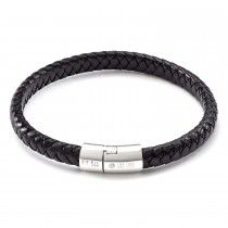 Tateossian Mens Classic Cobra Bracelet in Black Leather with Silver Clasp