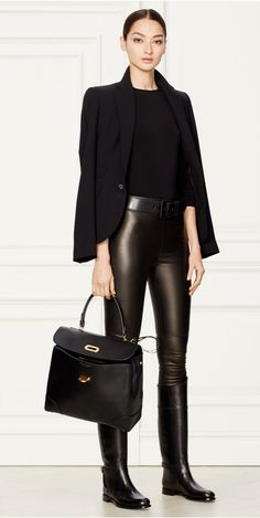 Black Stretch Leather Pant from Ralph Lauren: A sleek style with a slim-fitting silhouette, the luxe Eleanora pant is made in the USA from supple Italian lambskin that's bonded for additional stretch. Elongate your legs by pairing its body-hugging design with heels.