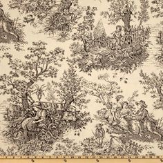 """Timeless Treasures French Court 108"""" Quilt Backing Toile Black/Cream"""
