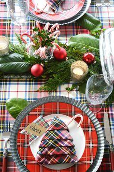Plaid Tidings Christmas Table and Christmas Tree Napkin Fold | homeiswheretheboatis.net #Christmas #tablescape #tartan #plaid