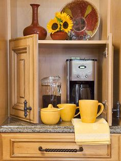 Kitchen Perks--For the mixer!!              An appliance garage by the refrigerator makes a perfect coffee station. There is preparation space in front of the coffeemaker and the microwave is close by for reheating coffee. There is space above the garage for storage and drawers below for storing utensils