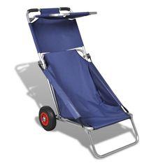 vidaXL Portable Beach Trolley, Chair, Table, Three in One, Blue