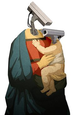 Madonna and Child of Surveillance Dystopian Art, Satirical Illustrations, Collage Background, Russia News, Smart Art, Madonna And Child, Chalk Art, Creative Logo, Surreal Art