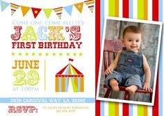 CARNIVAL or CIRCUS PARTY Birthday Invitation