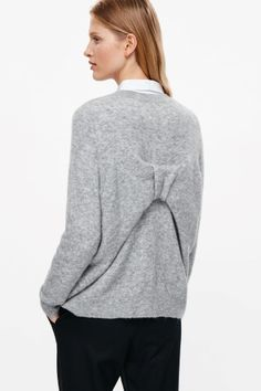 COS image 2 of Bow back jumper in Light Grey