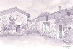 'Les Michelots, France (Wine version)' by ian osborne Watercolor Paper, France, Wine, Coffee, Drawings, Painting, Wall Prints, Art Print, Kaffee