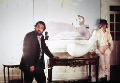 "Stanley Kubrick & Malcolm McDowell on the set of ""A Clockwork Orange"", 1971"
