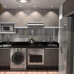 Bom dia! Esse é o 3D do projeto de nossa cozinha. Lembram quando eu disse que a lavanderia era minúscula? Então...cozinha e lavanderia praticamente ocuparão o mesmo espaço. No início eu queria retirar o tanque e ficar apenas com a máquina de lavar, mas a arquiteta disse que eu me arrependeria.