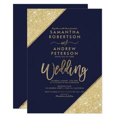 Gold glitter stripes typography navy blue wedding card Pretty #beach themed #weddinginvitations - Make your wedding day super special with these custom #beachtheme #invitations and #stationary
