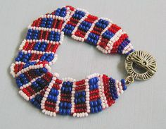 Red White and Blue Switchback Chain by SimplyBeadedTreasure, $25.00