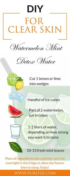 These stress relieving detox drinks is sure to make you feel better! Mint is known for soothing and healing inflammation and keeping acne at bay. Mint is rich in anti-oxidants and flavonoids. Watermelon helps to flush the body of toxins and is full of anti-oxidants. Get more DIY healthy recipes for clear skin and beauty tips at http://www.purefiji.com/blog/drink-clear-glowing-skin/