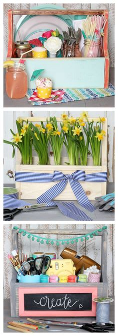 Make this DIY wood caddy in only 15 minutes!! So many practical uses! EASY TO BUILD- great beginner project