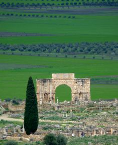 The remains of Volubilis the Roman town in Morocco. When it was at its height it was a spring board for Roman conquests throughtout Africa