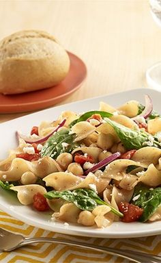 Spinach Noodle Salad: Egg noodle salad recipe with fresh spinach, Italian flavored tomatoes and crumbled feta cheese