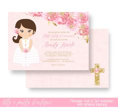 First Holy Communion Invitation, Baptism Girl Invitation, Christening Invitation, Communion Invitation, Baptism Pink and Gold- YOU PRINT by LillysPartyBoutique on Etsy https://www.etsy.com/listing/509601625/first-holy-communion-invitation-baptism