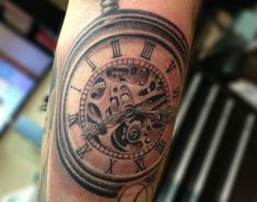 Pocket Watch Tattoo  Just too much detail. Trying to be too 3D