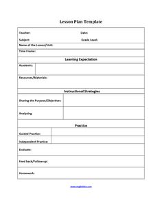Daily Lesson Plan Template  English    Lesson Plan
