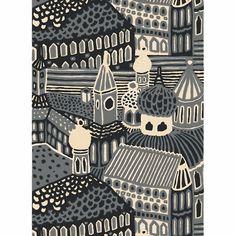 Marimekko Kumiseva Grey Fabric Repeat Printed in Finland with Katsuji Wakisaka's stylish city scene, this heavyweight cotton fabric by Marimekko adds urban historic style to any space. Grey Fabric, Cotton Fabric, Modern Fabric, Kids Prints, Art Prints, Marimekko Fabric, Scandinavia Design, Linens And More, Textiles