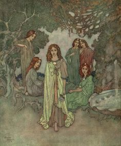 """""""The Fairy of the Garden.""""  From The Garden of Paradise, illustrated by Edmund Dulac."""