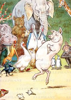 Animals Birds Children's Classics Dancing Elephants Humor Illustrator: L. Leslie Brooke Pigs'