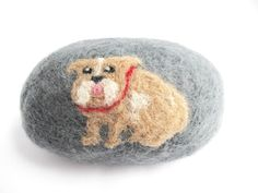 Brown and White English Bulldog Felted Soap Clean by 358studio