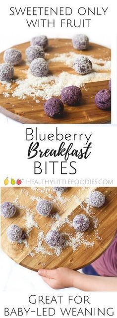 Blueberry, oats, peanut butter and oats blazed and rolled into balls. A healthy breakfast perfect for kids and babies. Blueberry Breakfast Balls - a vibrant, healthy breakfast. Perfect for kids and babies. Blueberry Breakfast, Breakfast Bites, Breakfast Ideas For Kids, Kid Breakfast, Baby Food Recipes, Snack Recipes, Blueberry Recipes Baby Food, Blueberry Recipes For Toddlers, Detox Recipes