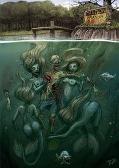 Creepy dark mermaid art