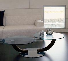 Design Couchtisch Rund Glasplatten Modernes Wohnzimmer