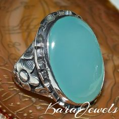 925 Sterling Silver Unique Handmade Men Ring with natural Blue Agate Aqeeq #KaraJewels #Handmade #Aqeeq #Blue