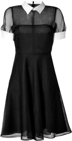 """Valentino Blackwhite Silk Dress in Black, this reminded me of a modern version of the dress worn by the woman painted in the painting """"The Barber Shop""""."""