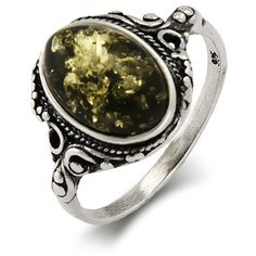 Green Baltic Amber Ring in Victorian Setting | Eve's Addiction® ($42) ❤ liked on Polyvore featuring jewelry, rings, vintage amber jewelry, vintage amber ring, vintage jewellery, vintage jewelry and victorian jewelry