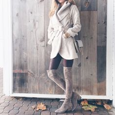 taupe over the knee boots with chunky heel under $150