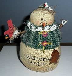Country Stuffed Snowman and Wood Cardinal Holiday Decor