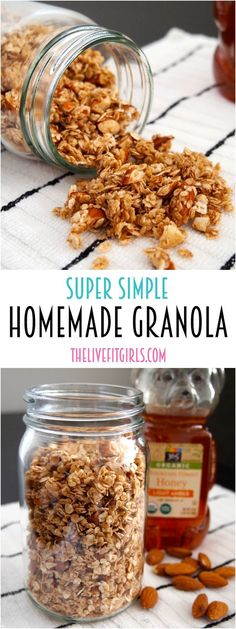 This homemade granola recipe is so easy and makes the perfect base for any granola recipe! Only a few ingredients are needed so make this clean eating granola recipe to sprinkle on top of cereal or yogurt. Pin this healthy breakfast recipe for later! Healthy Snacks, Healthy Eating, Healthy Recipes, Healthy Brunch, Honey Recipes, Breakfast Healthy, Healthy Nutrition, Yummy Snacks, Paleo Diet