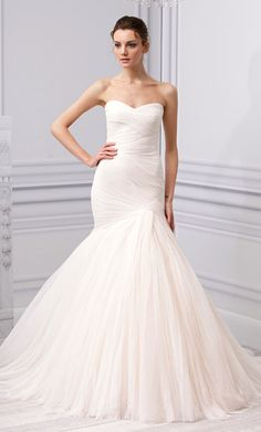 """MoniqueLhuillier's New Wedding Dress Collection: """"Forever"""" Blush Spanish Tulle Trumpet Gown."""