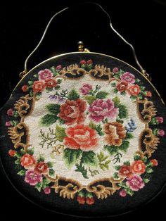 Vintage Floral Needlepoint Petit Point Black by ErmaJewelsVintage, $25.00