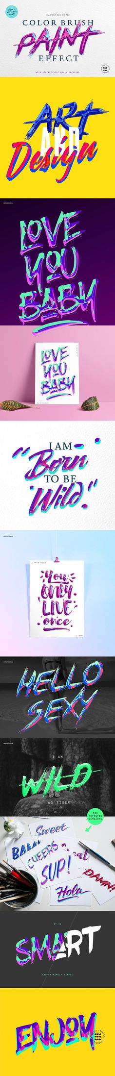 ABSTRACT PAINT TEXT EFFECTS by Evlogiev CreativeProducts on @creativemarket