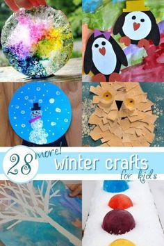28 winter crafts for kids to make. From penguins to snow globes to ice wreaths. Find Snowflakes and Snowman crafts too for winter!
