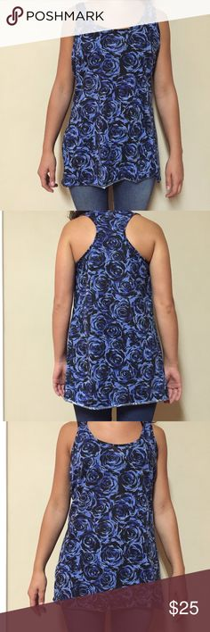 BLUE & BLACK ROSE PATTERNED TANK TOP Gently used tank top. Great for a dinner date or summer hang out! Tops Tank Tops