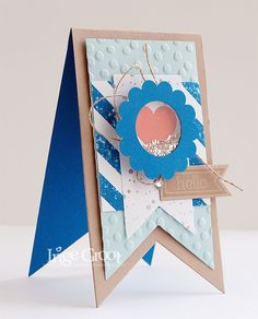 Stampin' Cards And Memories: Stampin' Club Juli, Hello. Perfect Pennants, Banners Framelits Dies, Shaker Card, Decorative Dots