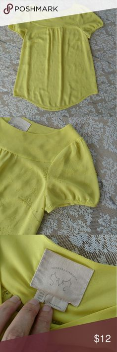 Vanessa Virginia Yellow Bloom Blouse Gorgeous yellow blouse with Lazer cut floral pattern. Size 12. Loose fit.  *Some of the flowers are stretching apart as seen in the last few pics. According to reviews this is a common problem with this top. Price reduced accordingly. Feel free to make offers. Anthropologie Tops Blouses