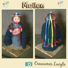 Machi en vellón agujado. Popsicle Sticks, Crochet, Wool Felt, Projects To Try, Christmas Ornaments, Holiday Decor, Templates, Paper, Fabrics