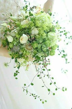 Unique Bridal Bouquet Which Includes: Small White Peonies, White Tulips, Blushing Bride Protea, White Astrantia, Green Snowball Viburnum + Several Varieties Of Greenery/Foliage~~