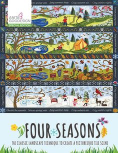 This unique tile scene celebrates the changing of the seasons. We've taken a single landscape, complete with trees and rolling hills, and have depicted it through every season. Spring boasts beautiful flowers and new life, summer is bursting with warmth, while autumn is rich with color and winter is aglow with wonder. Each season is created using 5 blocks and our landscape quilting technique. Appliqués are used to divide the backgrounds between earth and sky, and beautiful details are…