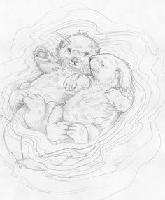 Bergsma Gallery Press :: Paintings :: Originals :: Original Sketches :: 2014/A Love Like No Otter - Original Sketch