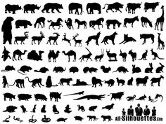 Animals Silhouettes Free Vector Collection stencil