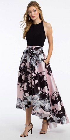 Show off your feminine side with this Halter Floral High Low Prom Dress By Camille La Vie. The halter neckline, fitted jersey bodice, printed high-low skirt, and open back add pretty touches to this evening dress. High Low Prom Dresses, Homecoming Dresses, Dress Prom, Dress For Wedding Guest, Skirt Outfits, Dress Skirt, Dress Shoes, Shoes Heels, Pretty Dresses