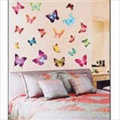 Large DIY Self-Adhesive Removable Wall Sticker Decal Wallpaper House Interior Decor - Colorful Butterflies Theme