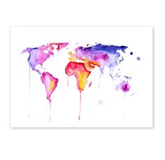 Watercolor Map of the world modern abstract watercolor painting original13 x 19 by Elena Romanova. $75.00, via Etsy.