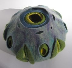A beautifully soft, fine felted wool sculpture / vessel made from merino wool and silk, by Teri Berry Creations